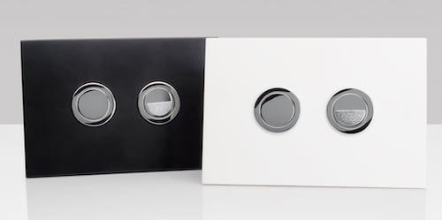 Deux plaques de commande du bâti-support Cubik S de Valsir