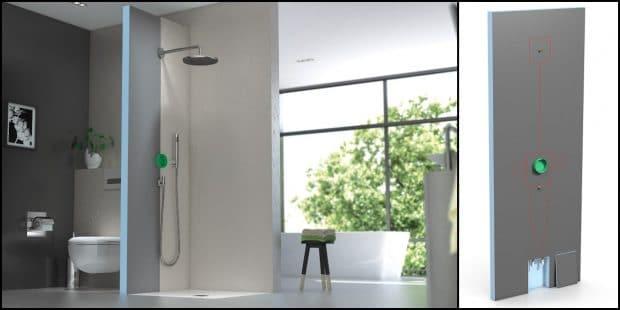 salle de bain avec cloison de douche intégrant une iBox Hansgrohe