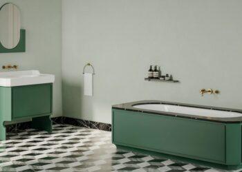 meuble rétro vert et baignoire dans un caisson vert